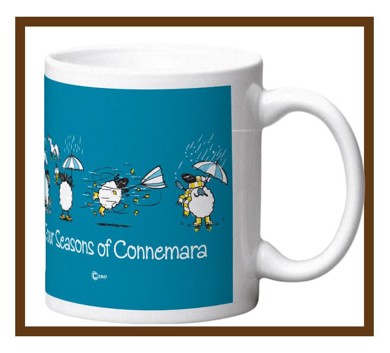 Porcelain mug with sometimes it rains in connemara design wrap.