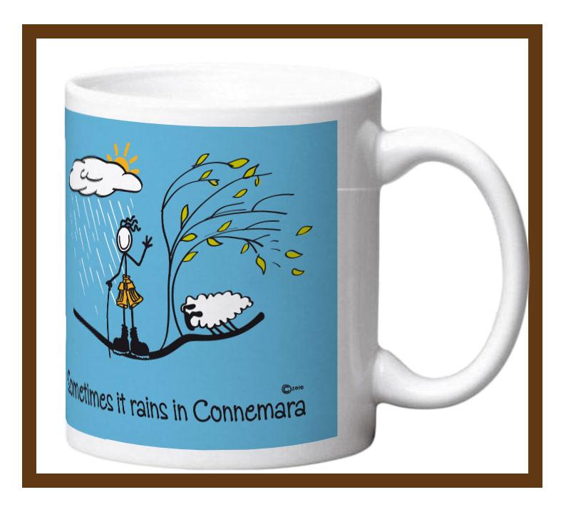"Porcelain mug with ""Sometimes it rains in Connemara"" design wrap."