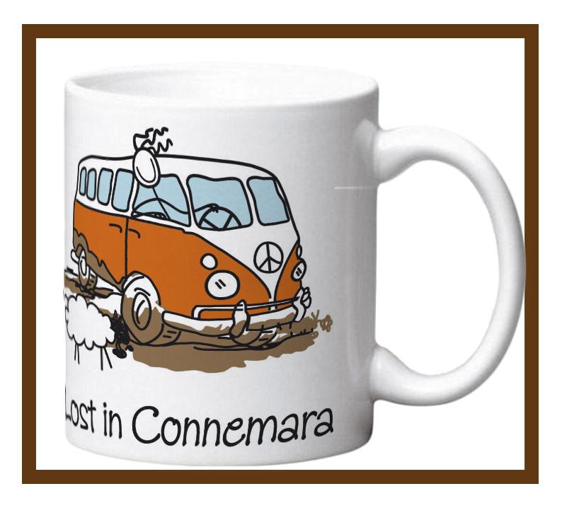 Porcelain mug with lost in connemara design wrap.